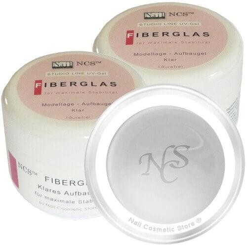NCS Fiberglas Gel - klares Aufbaugel für perfekte künstliche Fingernägel mit 2x 50ml Inhalt als Doppelpack