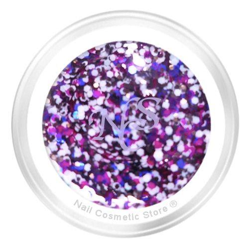 NCS Sparkle Farbgel 439 Pink Sprinkle 5ml - Violett Pink Weiß Schwarz