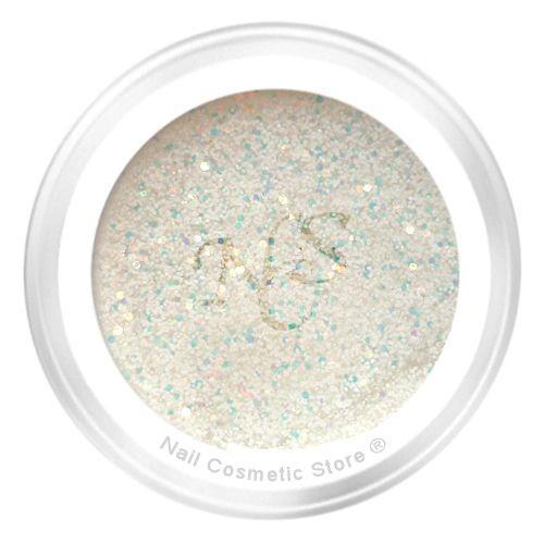 NCS Glitter Farbgel 107 White Flakes mit tollem Effekt in klarem Gel
